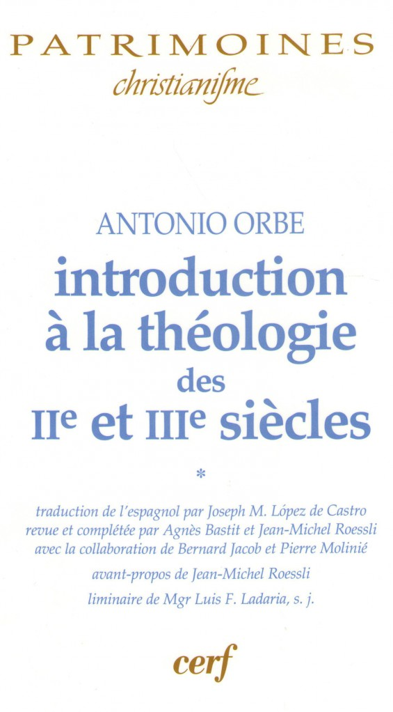 image INTRODUCTION A LA THEOLOGIE DES IIE ET IIIE SIECLES - I
