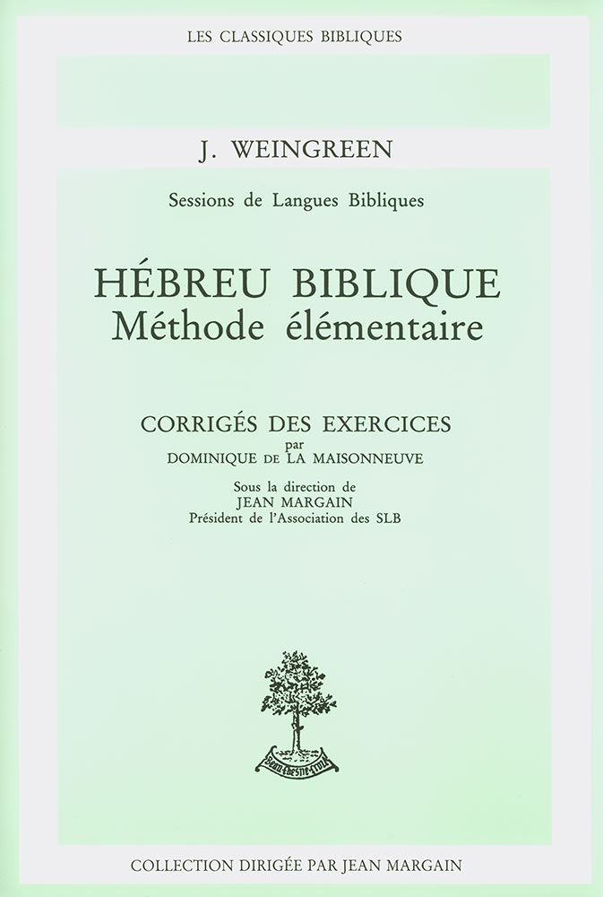 image HEBREU BIBLIQUE - METHODE ELEMENTAIRE - CORRIGE DES EXERCICES